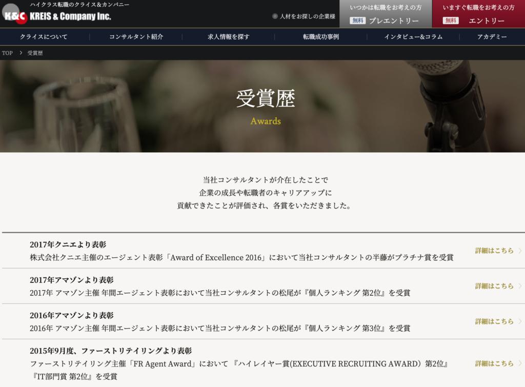 クライス&カンパニー 受賞歴